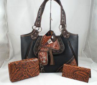 DG Sunglasses+Western Montana West Saddle Tooled Leather Handbag