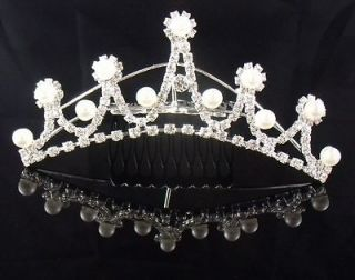 Bridal Princess Rhinestones Crystal Flower Wedding Silver Tiara Crown