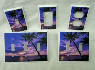 Beach Sunset & Palm Tree Silhouette Light Switch Cover Plate Outlet
