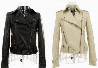 NEW Women Slim PU Leather Short Jacket Coat Lapel Inclined Zipper
