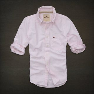 Hollister HCO Ventura Beach Mens Classic Dress Shirt Pink Stripe NEW