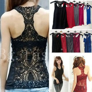 Womens Sexy Back Crochet Lace Tank Top Sleeveless T shirt Hollow out