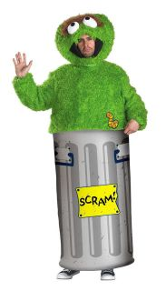 Mens Oscar the Grouch Halloween Costume Sesame Street Garbage Can Suit