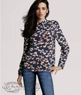 2012 Spring horses print Womens Shirt Top Blouse Slim Fit