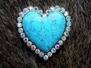 HEART CRYSTALS RHINESTONES BLING CONCHOS HEADSTALL SADDLE #13