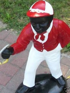 BLACK LAWN JOCKEY STATUE (CUSTOM)LAN​TERN INCLUDED