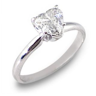 WOMENS SOLITAIRE HEART SHAPE CUT DIAMOND ENGAGEMENT RING WHITE GOLD