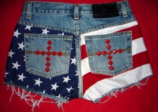 EXPRESS cut off AMERICAN FLAG shorts * Sz 1 / 2 , XS * STUDDED, low