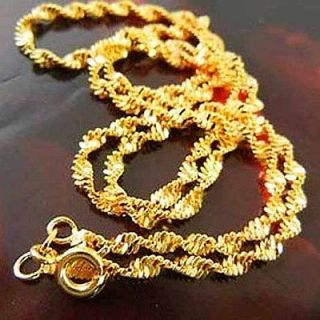 Water Wave 9K Real Yellow Gold Filled Womens Chain Necklace,C117