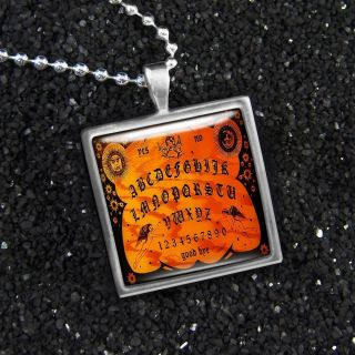 Vintage Wooden Ouija Board Halloween Necklace S 116