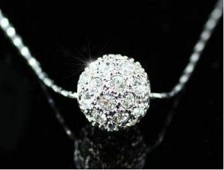 18K White Gold Gp Swarovski Crystal Ball Necklace CCC35