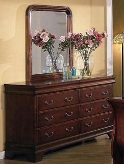 Garches Solid Wood Fully Assembled Dresser & Mirror , Cherry Finish