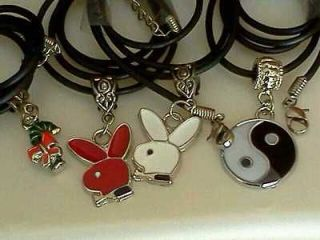Lot 4 Pendants Candy Cane, Bunnies, Yin Yang w/ Black Cord Necklace NR