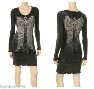 BLACK CRYSTAL CROSS ANGEL WINGS TATTOO L/S DRESS TUNIC S & ED HARDY