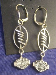 Unique Sterling Silver Harley Davidson Dangle Earrings by MOD