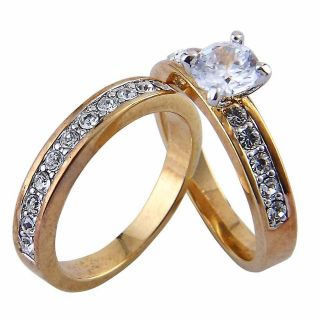 Carats Round Cz Cubic Zirconia Yellow Gold Ep Wedding Engagement Ring