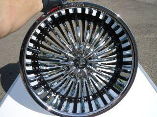 22 Shooz 011 Chrome & Black Wheels Rims 5 Lug 5x115 5x120 5x4.75