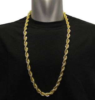 RUN DMC HIP HOP ROPE CHAIN, DOOKIE, 10mm x 30, 14K GOLD PLATED