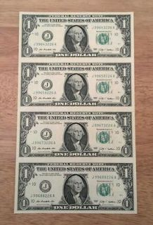 OF 4   $1 BILLS NOTES DOLLARS MONEY CURRENCY GEM UNC **GREAT GIFT
