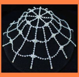 PEARL CLEAR AUSTRIAN RHINESTONE HEADPIECE BRIDAL BELLY DANCE PARTY
