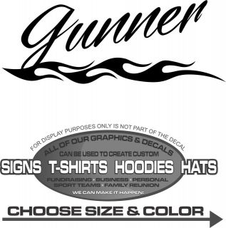 Gunner Flame Name Sticker Decal 4 Laptop Car Auto Truck Toy Box