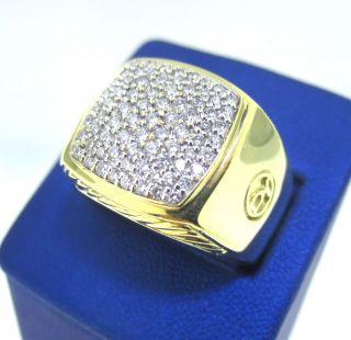 34g RARE & LARGE DAVID YURMAN 18k YELLOW GOLD SIGNET RING W/ DIAMONDS