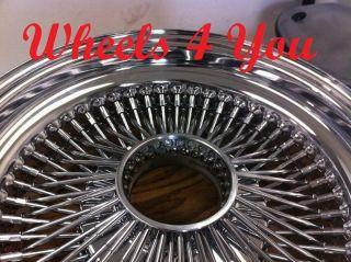 18x8 CHROME 100 SPOKE WHEELS Dayton Style Wire Rims LR