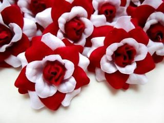 12 Artificial Silk White Roses Head Flower Lot 1.75 for Wedding Hair