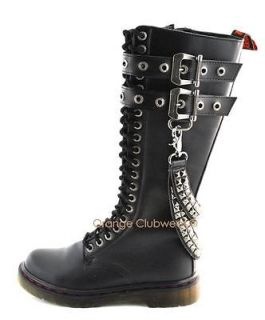 DEMONIA Mens Combat Punk Knee High Stud Boots Shoes