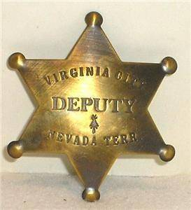 Brass Virginia City Nevada Deputy Sheriff Police Badge