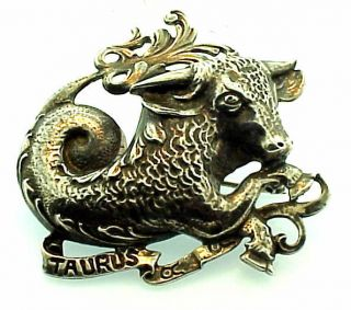 Silver Cini Taurus Brooch Pin Vintage Designer Signed 18 grams