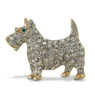 Terrier Brooch, Faberge Inspired Crystal Dog Brooch / Pin