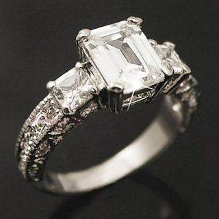 White Gold gp lab Diamond Emerald Cut Engagement Wedding Party Ring SZ