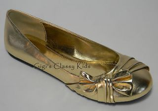 New Girls Ladies Womens Metallic Gold Dress Shoes Size 10 Flats Fancy