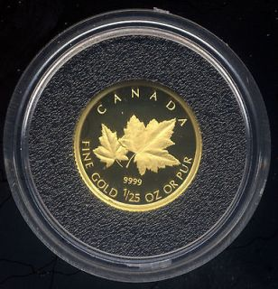 Red Maple Tree 50 cents .9999 Gold Proof Coin 1/25 Ounce RCM UNC Box