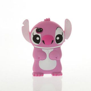 Disney Lilo Stitch Die Cut 3D Case Cover Pink Skin House For iPhone 4