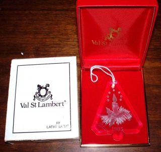 1985 Val St. Lambert Crystal Christmas Ornament in Original Box By