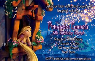 Tangled Invitations   20 Custom Personalized Birthday Party Invites w