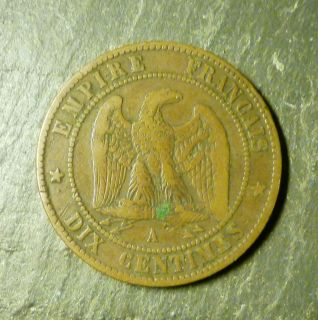 1862 FRANCE EMPIRE NAPOLEON III DIX CENTIMES COIN
