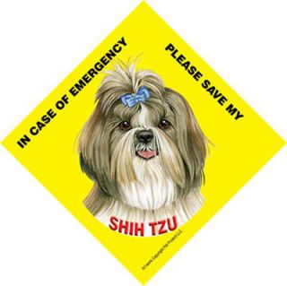 Save My Shih Tzu Dog Car Window Sign Emergency Rescue