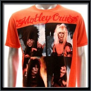Sz M Motley Crue T shirt Tommy Lee Rock Music Band Tour Orange