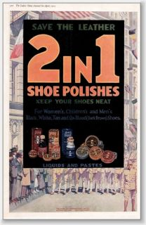 1919 Dalley 2 in 1 shoe shine paste marching troops AD