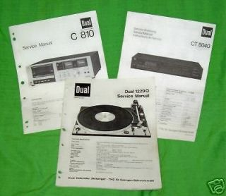 DUAL SERVICE MANUALS  TURNTABLES CASSETTE ELECTRONICS