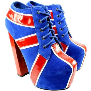 WOMENS UNION JACK PLATFORM BLUE RED WHITE GREAT BRITIAN ANKLE SHOES