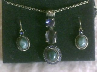 Cabochon Accented Green Drop Necklace & Earring Gift Set Avon with