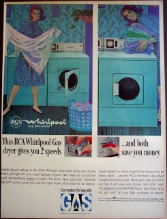 vintage 1964 appliance Ad RCA Whirlpool Gas dryer