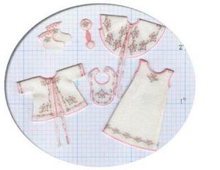 Dollhouse Miniature Newborn Baby Clothing Kit, Vintage Slip/Jacket, 1
