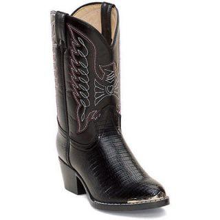 Durango BT840 Kids Black Lizard Western Boots Size 12.5 D