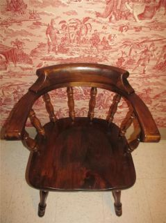 Ehan Allen Aniqued Old avern Pine Collecion Capains Arm Chair 12