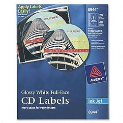 Avery Ink Jet Printer, Full Face Glossy White CD Labels, 20 Labels